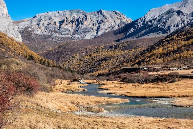 Montagne sacrée tibétaine avec pré doré et rivière