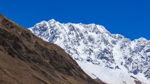 Montagne shkhara près du village d'ushguli dans la région de svaneti, géorgie. c'est le plus haut sommet de géorgie