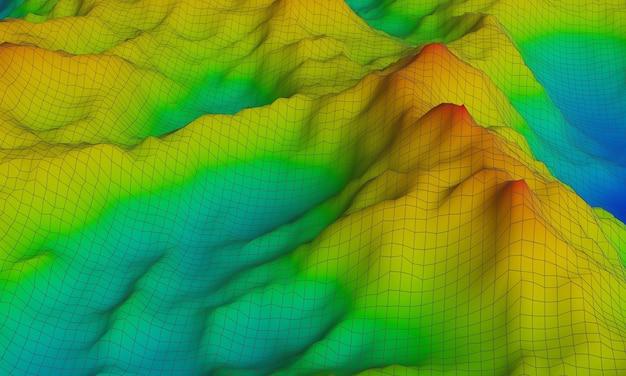 Montagne topographique en rendu 3d. afficher la couleur d'élévation du bleu au rouge.