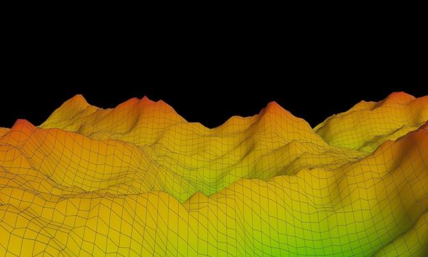 Montagne topographique en rendu 3d avec des lignes filaires.