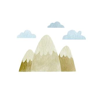 Montagnes aquarelles isolés sur fond blanc