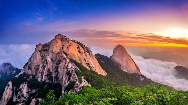 Les montagnes de bukhansan sont couvertes par le brouillard du matin et le lever du soleil à séoul, corée