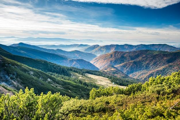 Montagnes et collines vertes à l'heure du coucher du soleil orange