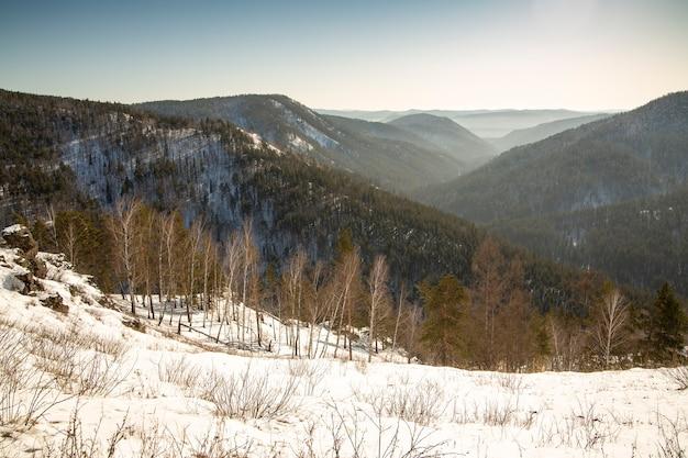 Les montagnes couvertes de forêt vont à l'horizon et se perdent dans la brume