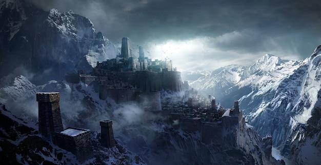 Montagnes enneigées entre le château.
