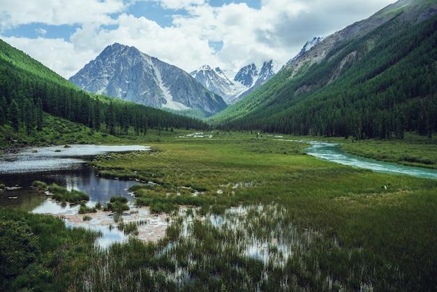 Montagnes enneigées, lac alpin et rivière de montagne.