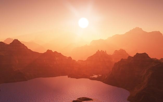 Montagnes avec un lac au coucher du soleil