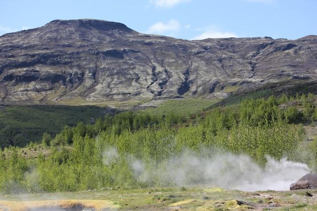 Montagnes de lave avec fumée de geyser et forêt