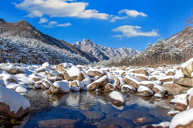 Les montagnes de seoraksan sont couvertes de neige en hiver, en corée du sud.