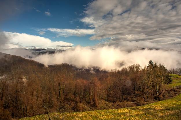 Montagnes slovènes couvertes de brouillard