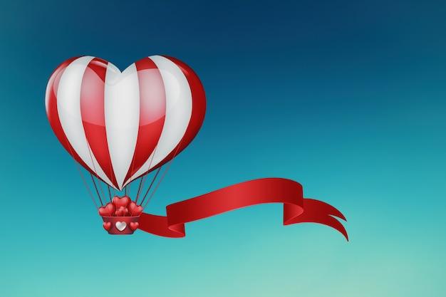 Montgolfière en forme de coeur dans le ciel
