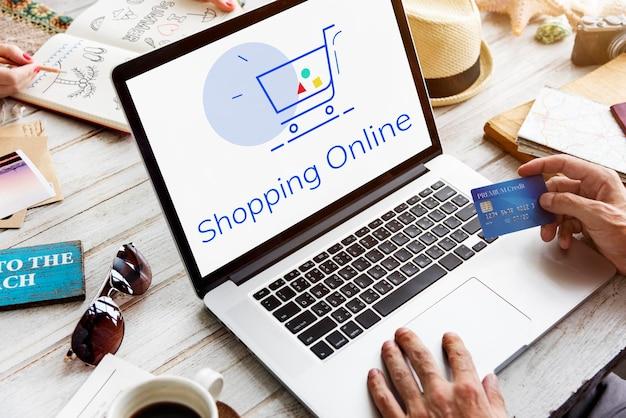 Montrant panier chariot shopping en ligne signe graphique