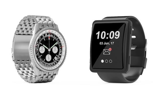 Montre-bracelet en argent classique de luxe pour hommes avec grande montre intelligente conceptuelle sur fond blanc. rendu 3d