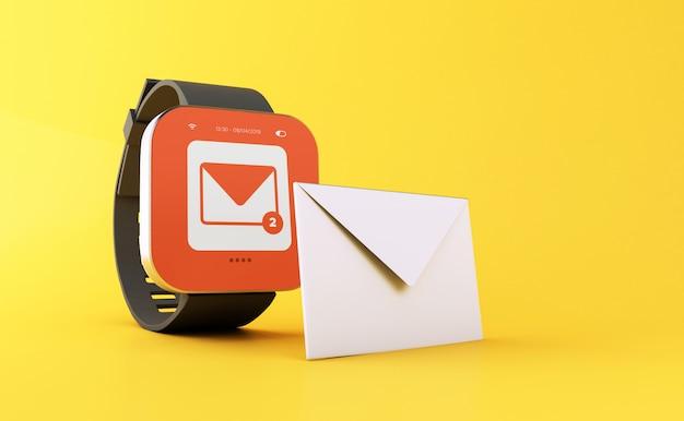 Montre intelligente 3d affichant la notification d'un nouveau message.
