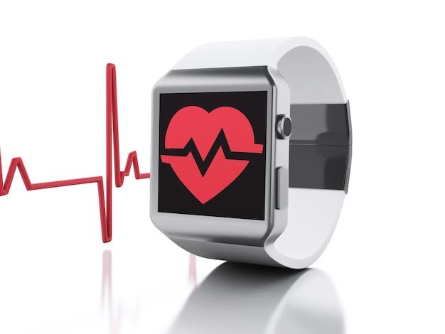 Montre intelligente 3d avec l'icône de la santé rouge.