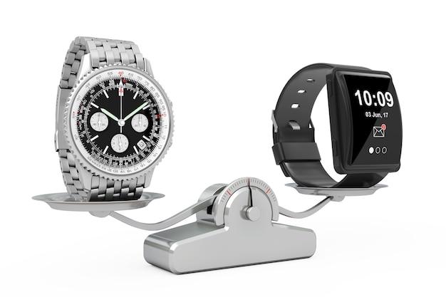 Montre de luxe classique en argent pour homme avec une grande montre intelligente conceptuelle s'équilibrant sur une échelle de pondération simple sur un fond blanc. rendu 3d