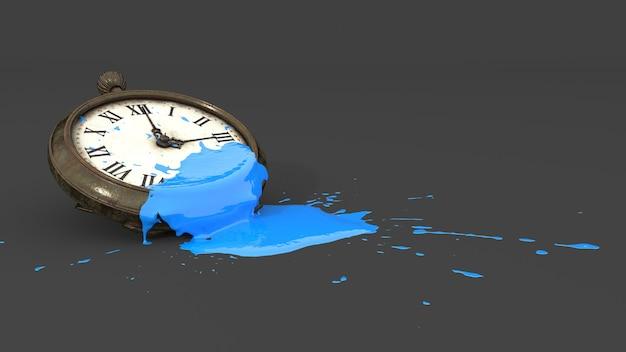 Montre de poche recouverte de peinture bleue sous forme de tache, illustration 3d