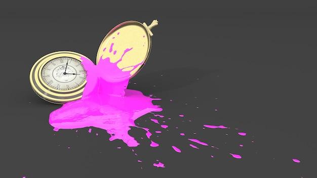 Montre de poche tachée de peinture rose sous forme de tache, illustration 3d