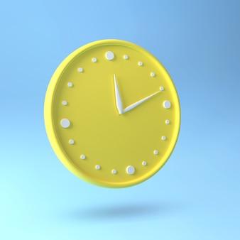 Montre ronde. horloge jaune et bleu