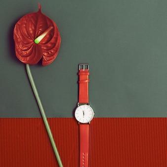Montres élégantes rouges. conception de minimalisme.