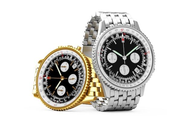 Montres d'or et d'argent de poignet d'hommes analogiques classiques de luxe sur un fond blanc. rendu 3d