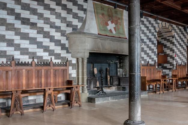Montreux, suisse - 2 juillet 2017 : intérieur du célèbre château château de chillon