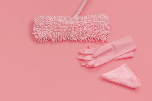 Mop, gants de chiffon et de caoutchouc -pink set on pink