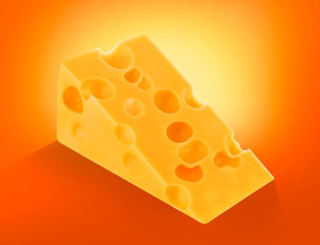 Morceau de fromage suisse avec des trous isolés