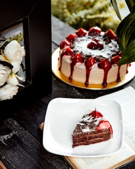 Un morceau de gâteau au chocolat éponge saupoudré de chocolat râpé