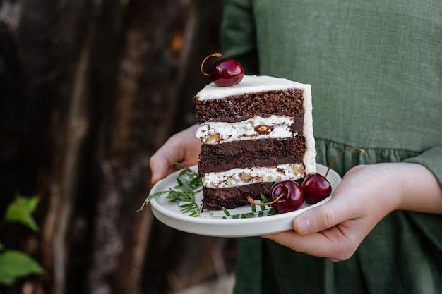 Morceau de gâteau au chocolat sur une plaque
