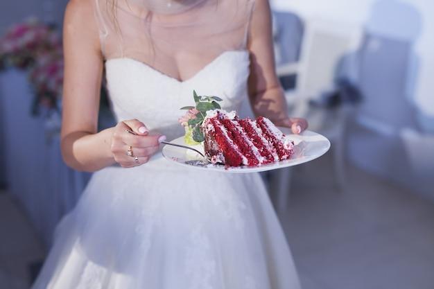 Morceau de gâteau de mariage