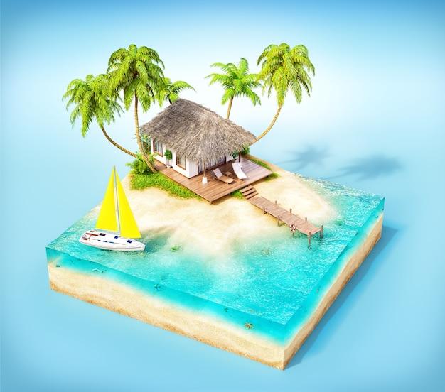 Morceau d'île tropicale avec eau, palmiers et bungalow sur une plage