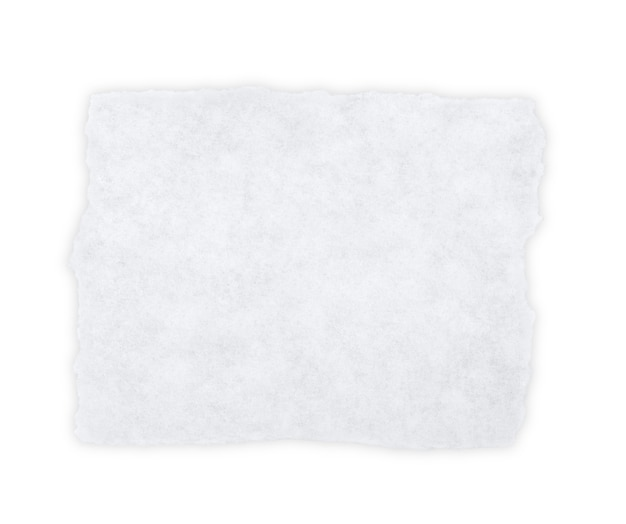 Morceau de papier blanc isolé sur blanc