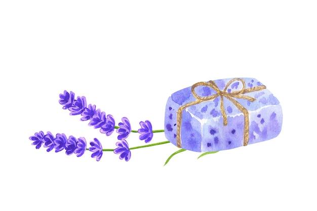 Morceau de savon enveloppé de lavande violette et de fleurs de lavande. illustration aquarelle dessinée à la main. isolé.