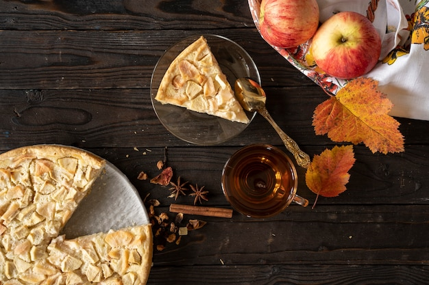 Morceau de tarte aux pommes maison charlotte de pommes rouges et jaunes.