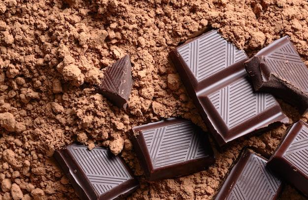 Morceaux de chocolat avec gros plan de poudre de cacao