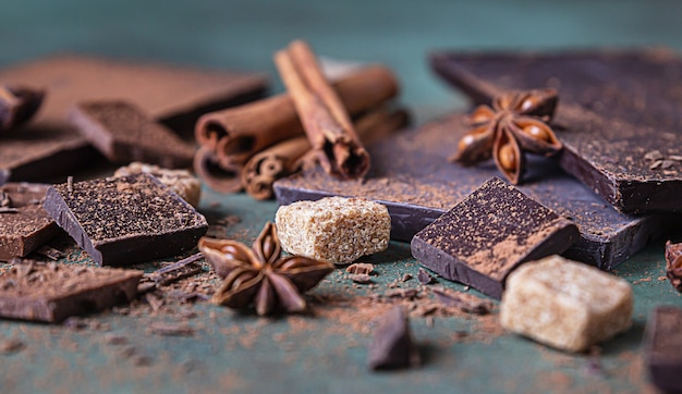 Morceaux de chocolat noir et au lait, poudre de cacao, cannelle, étoile d'anis et cassonade sur la surface de la pierre