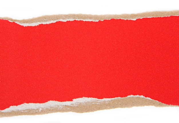 Morceaux de papier déchiré rouge, papier déchiré comme arrière-plan