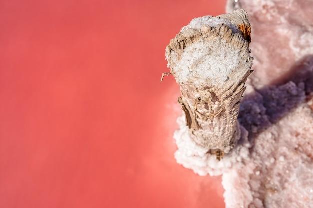 Morceaux de sel sur un bâton en bois sur un lac rose extraction de sel pour la médecine et les services de spa