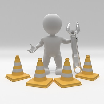 Morph man 3d avec cônes de danger