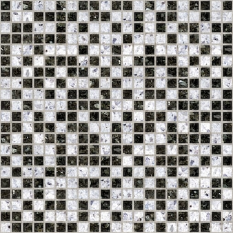 Mosaïque en marbre blanc et noir. tuile en céramique