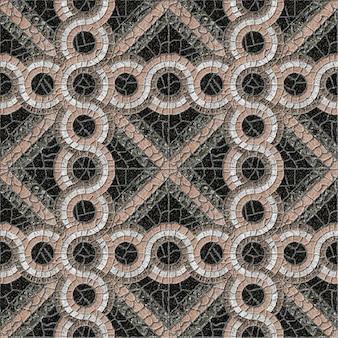Mosaïque de pierre en granit coloré avec un motif géométrique. texture de fond. carreaux de sol décoratifs