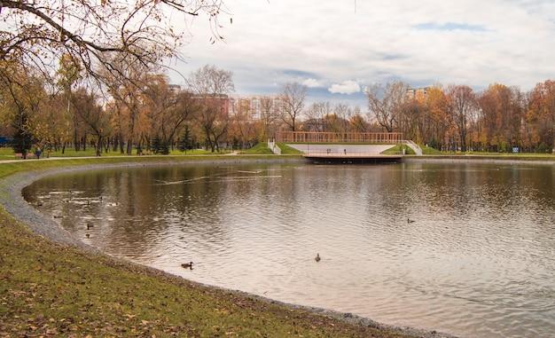 Moscou, Russie-8 Octobre 2019 : Vue D'automne De L'étang Aux Canards Dans Le Parc De La Ville Torfyanka Photo Premium