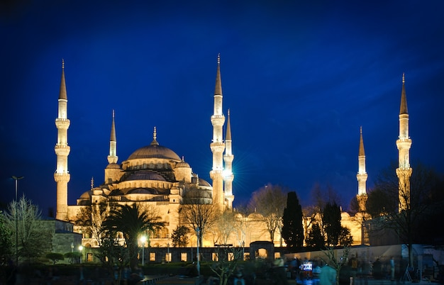 Mosquée bleue la nuit à istanbul, turquie