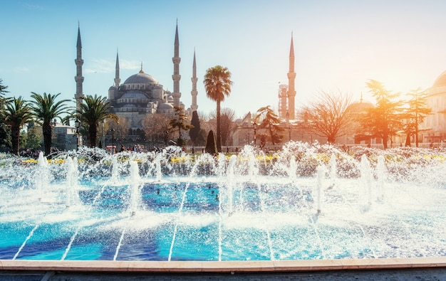 Mosquée du sultan ahmed illuminée. istanbul, turquie