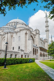 Mosquée de suleymaniye sur fond de ciel bleu et de feuilles vertes