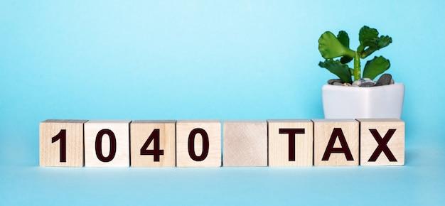 Le mot 1040 taxe est écrit sur des cubes en bois près d'une fleur dans un pot sur une surface bleu clair