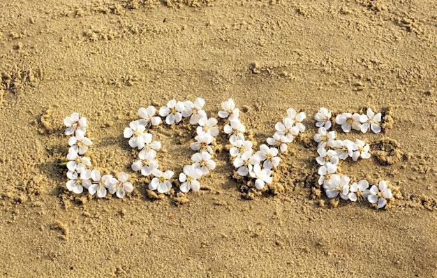 Mot d'amour dessiné sur le sable de la plage et l'inscription love