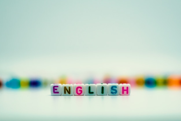 Mot anglais de perles de lettre