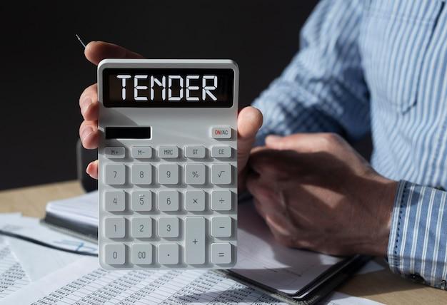 Mot d'appel d'offres sur le concept d'offre publique d'affaires de la calculatrice